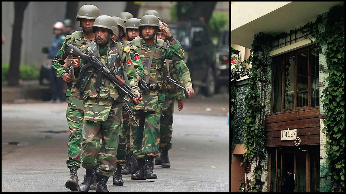 Bangladeshi soldiers (left) walk out of the Holey Artisan Bakery (right) which came under terrorist attack on Friday, 1 July 2016. (Photo: <b>The Quint</b>)
