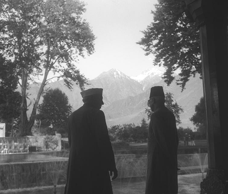 "Nehru and Maulana Azad in Kashmir. (Photo Courtesy: <a href=""http://photodivision.gov.in/IntroPhotodetails.asp?thisPage=1480"">Ministry of I&amp;B, GOI</a>)"
