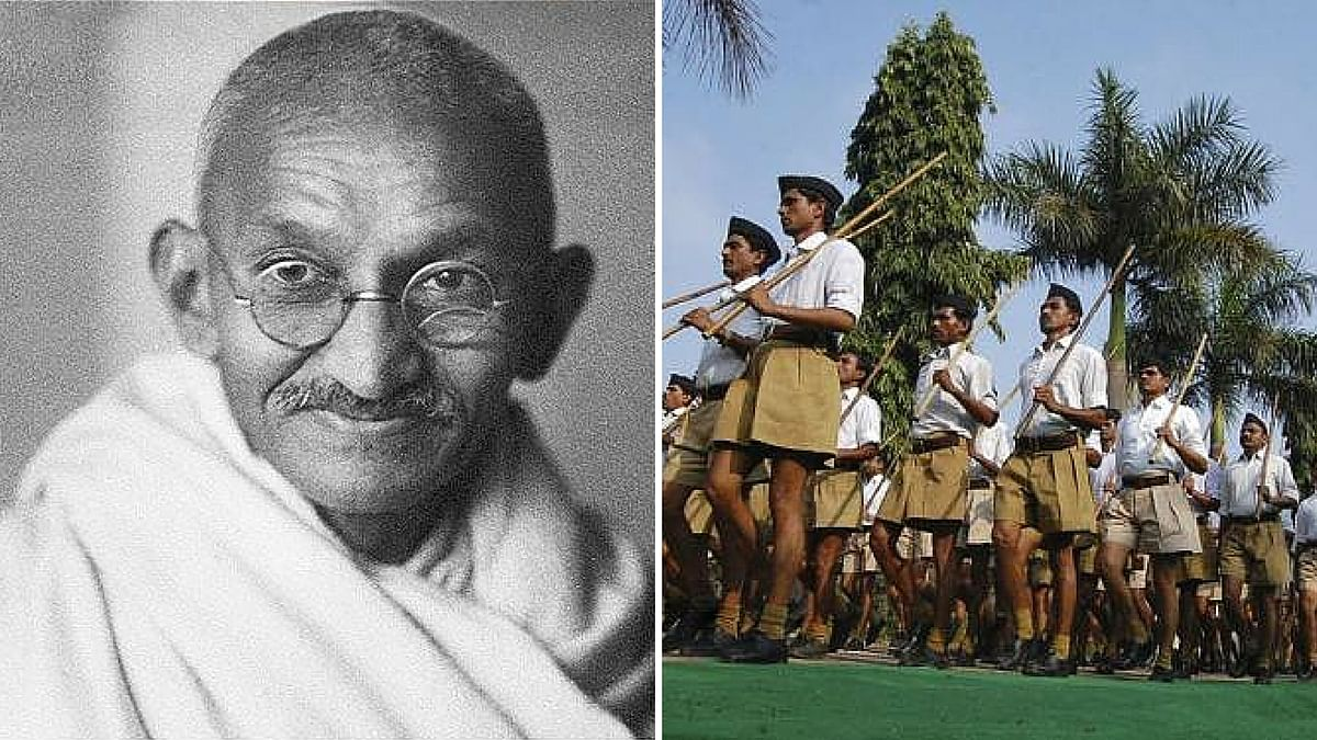 Mahatma Gandhi (L), and RSS volunteers marching. (Photo altered by <b>The Quint</b>)