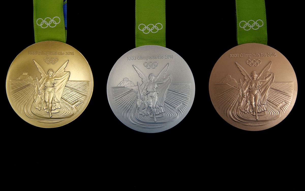 The Rio 2016 Olympic medals are pictured at the Casa da Moeda do Brasil (Brazilian Mint). (Photo: Reuters)