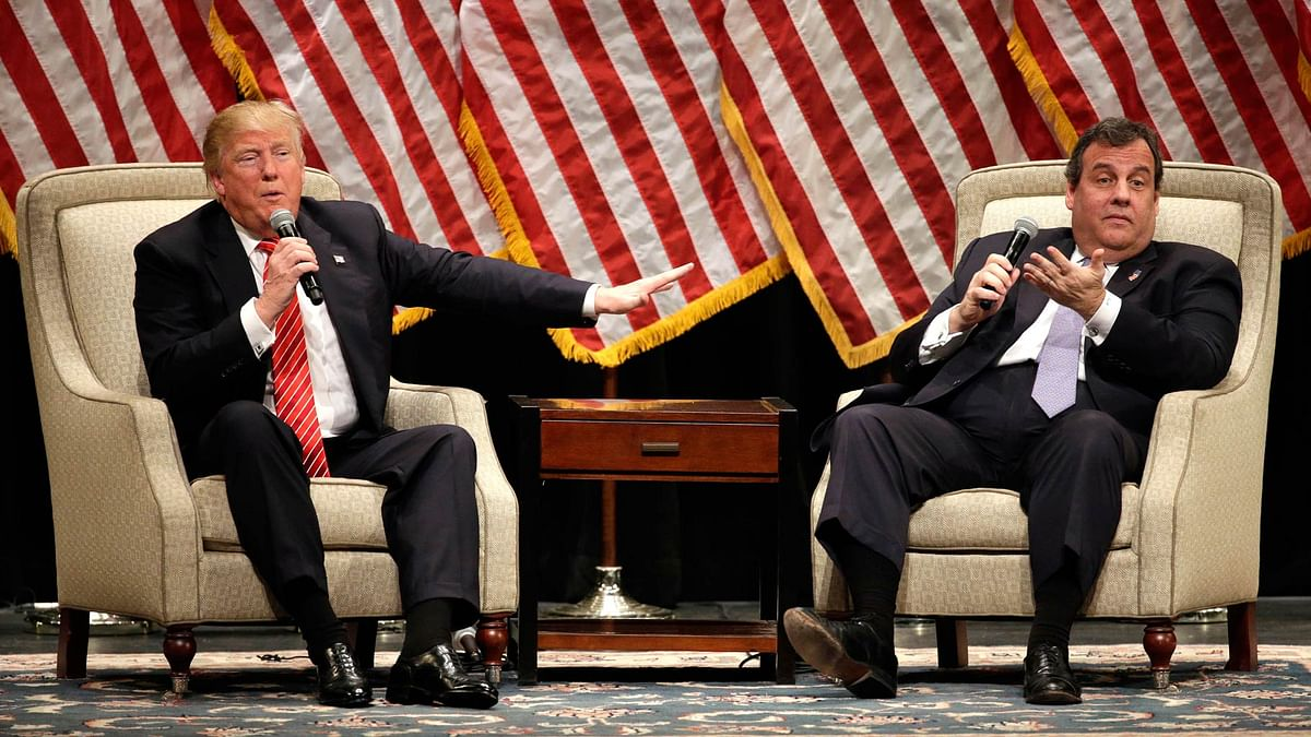 Republican presidential candidate Donald Trump with New Jersey Governor Chris Christie at a rally in Hickory on 14 March 2016. (Photo: AP)