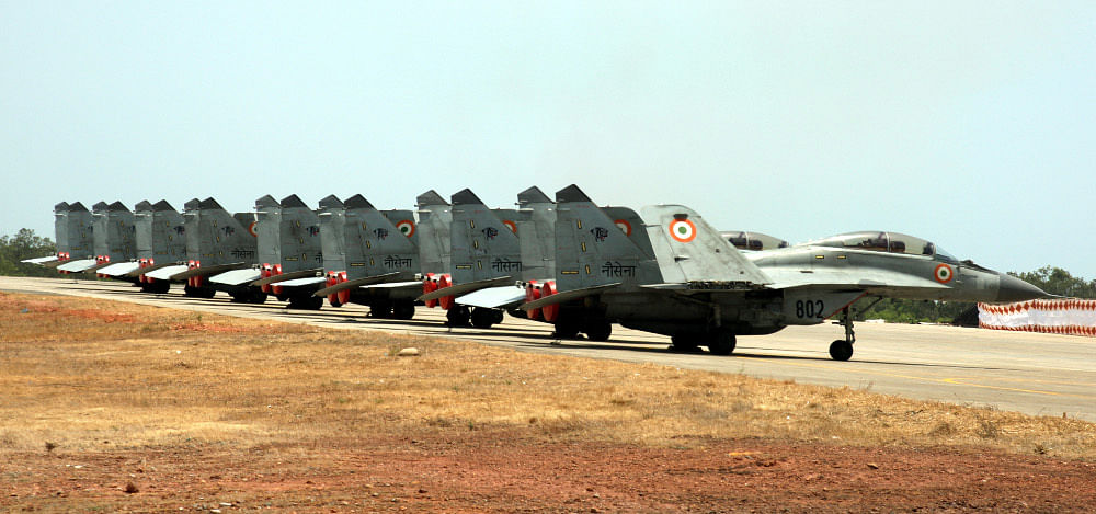"Defence Minister AK Antony commissioned the Indian Naval Air Squadron (INAS) 303, the first MiG-29K squadron of the Indian Navy at INS Hansa in Goa. (Photo: <a href=""http://indiannavy.nic.in/content/mig-29k"">Indian Navy</a>)"