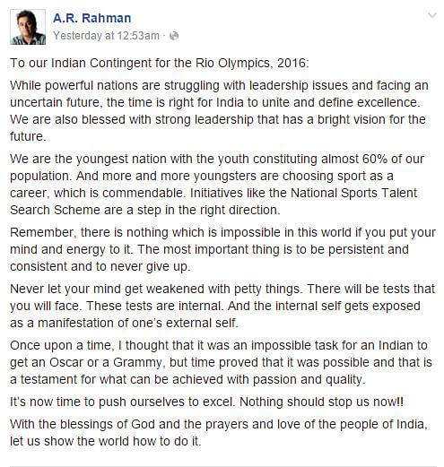 (Photo Courtesy: Screengrab of AR Rahman's Facebook post)