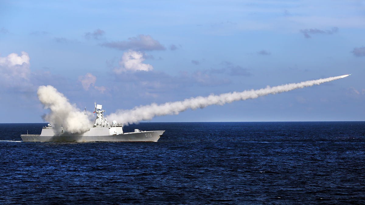 File photo of Chinese missile frigate Yuncheng launching an anti-ship missile during a military exercise in the waters near south China's Hainan Island and Paracel Islands. (Photo: AP)