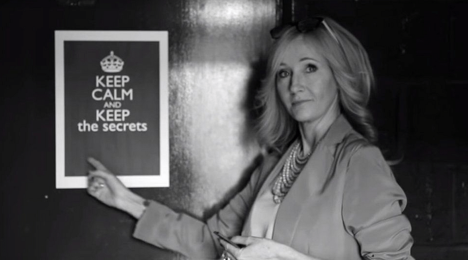 """Audience members at each of the previews  were handed out special badges at the end of the show which said simply: """"Keep the Secrets"""". (Photo Courtesy: YouTube screenshot)"""