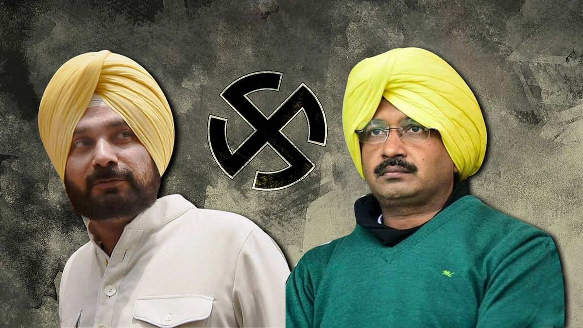Navjot Singh Sidhu and Delhi Chief Minister Arvind Kejriwal (right). (Photo: <b>The Quint</b>)