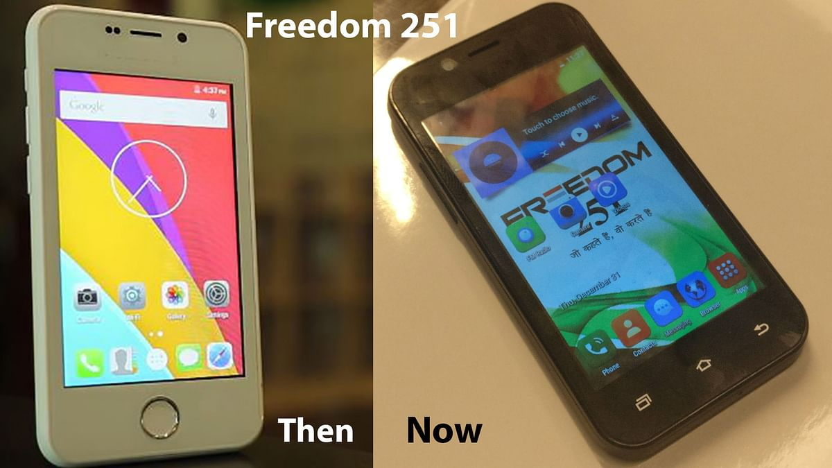 The prototype Freedom 251 (Right) and the final product (Left) (<b>The Quint</b>)