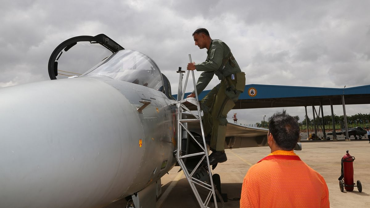 Getting on-board the combat aircraft.