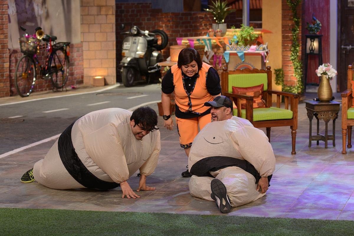 Krushna Abhishek, Bharti Singh and Salman Khan have fun on the sets. (Photo Courtesy: Colors PR Team)
