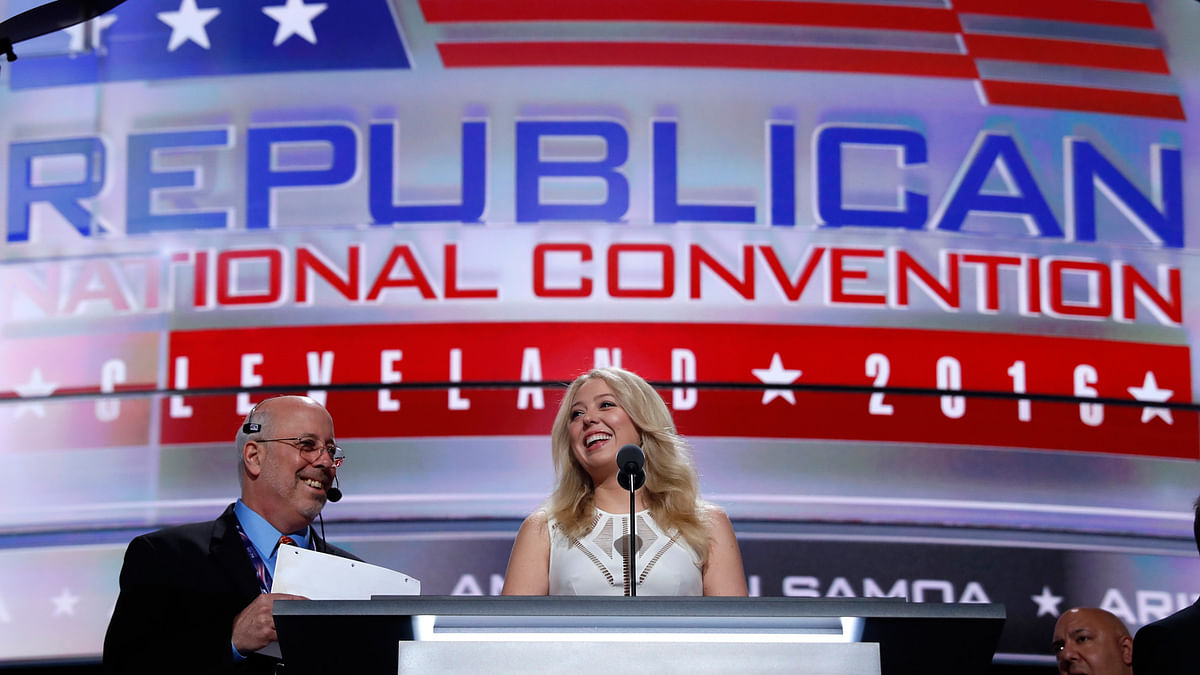 Tiffany Trump, daughter of Republican presidential candidate Donald Trump, prepares for her speech at the Republican National Convention. (Photo: AP)