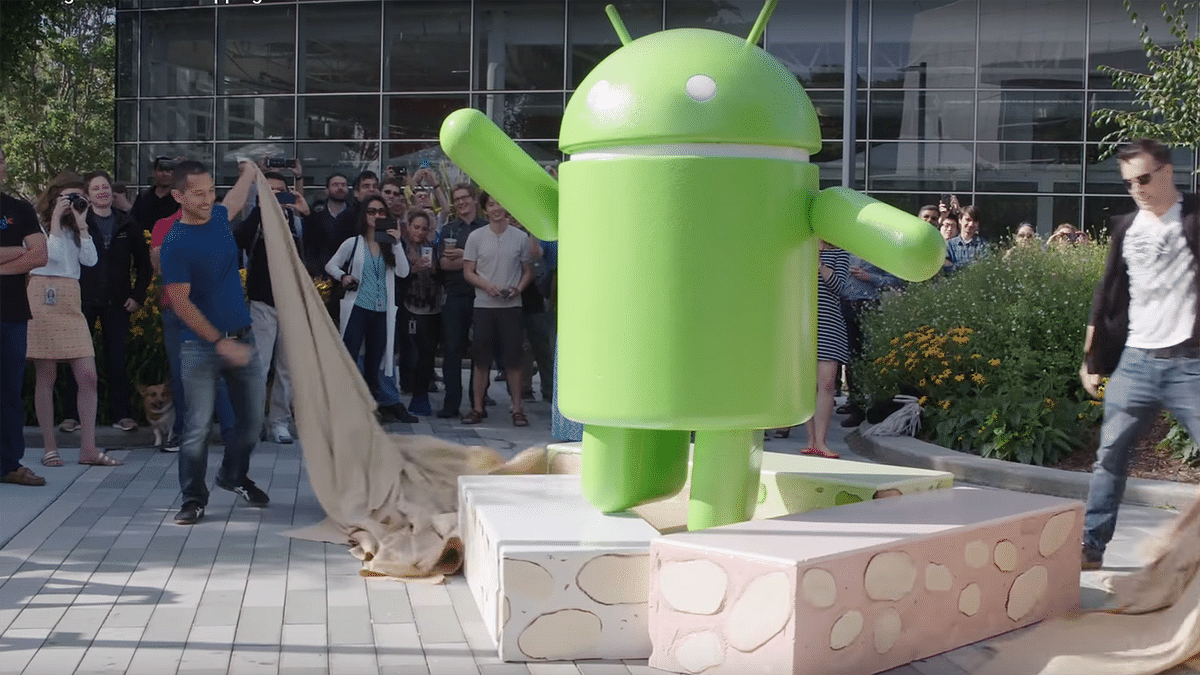 Android N Statue being unwrapped. (Photo Courtesy: YouTube screen grab)