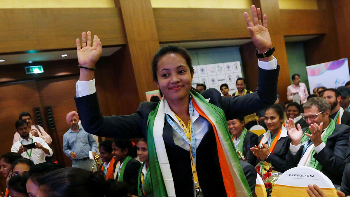 Indian women's hockey team captain Sunita Chanu at the team announcement ceremony in New Delhi on Tuesday. (Photo: Reuters)