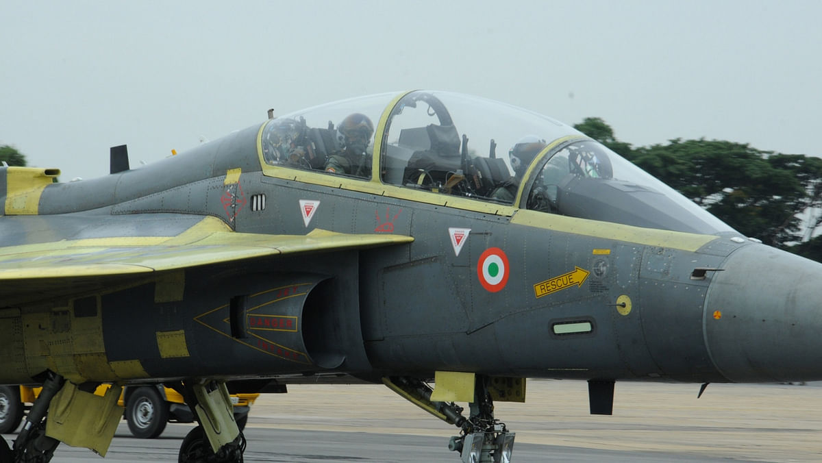 The Chief of Air Staff, Air Chief Marshal Arup Raha, in the cockpit of the  Light Combat Aircraft, Tejas, at HAL airport, Bengaluru, on May 17, 2016. (Photo: IANS/DPRO)