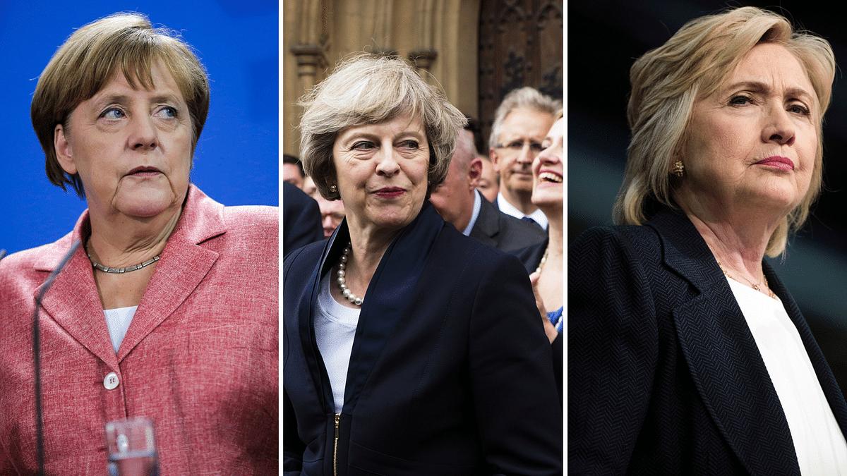 Angela Merkel, Theresa May and Hillary Clinton. (Photo: <b>The Quint</b>)