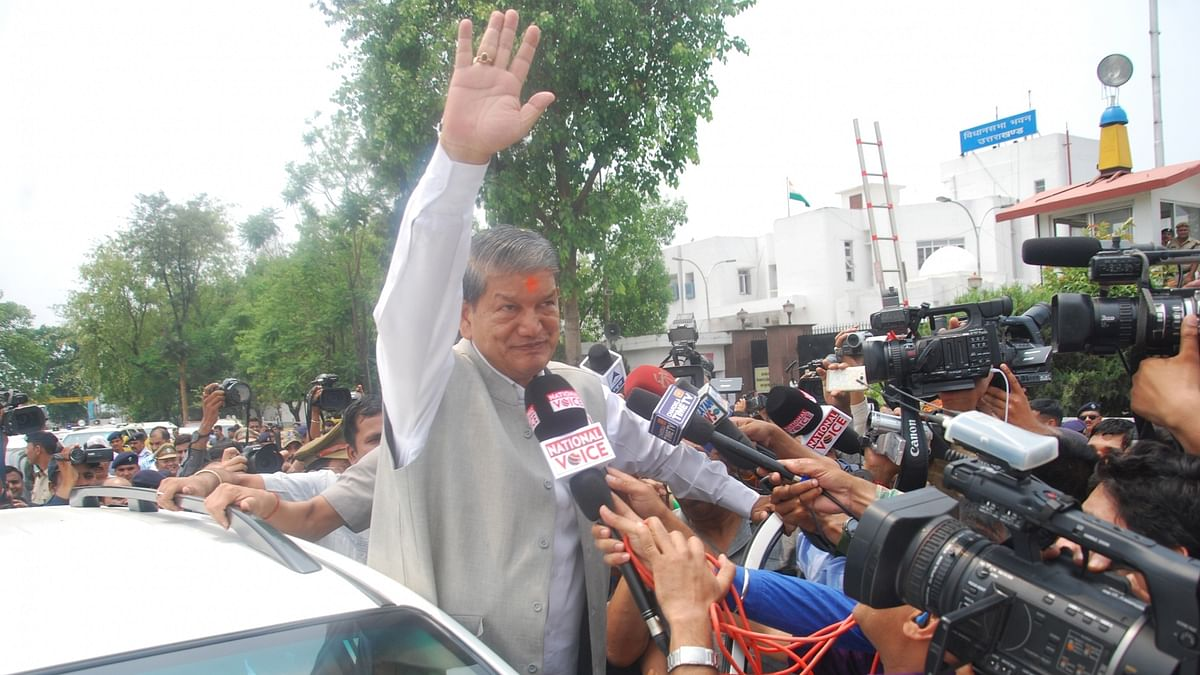 Harish Rawat after taking the floor test which reinstated him as the Chief Minister of Uttarakhand. (Photo: IANS)