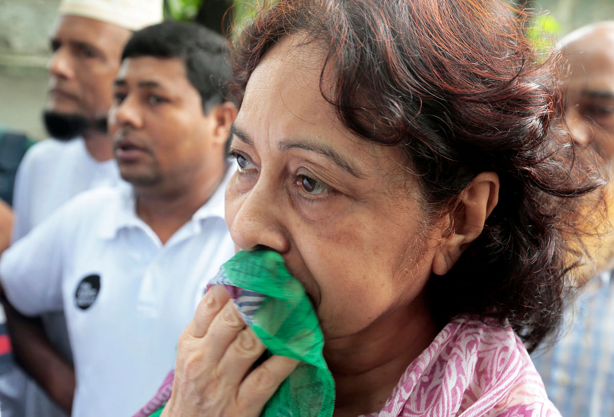Hosne Ara Karim, whose son and daughter-in-law were rescued from the restaurant. (Photo: AP)