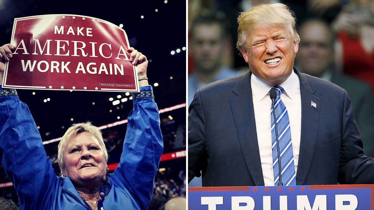 A Trump supporter holds up a banner at the Republican Convention (L), Donald Trump (R). (Photo: AP/Altered by <b>The Quint</b>)