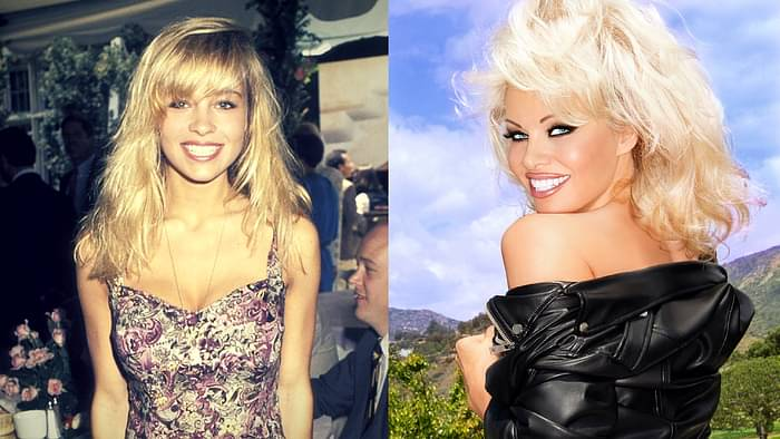 Pamela Anderson before and after her physical transformation (Photo courtesy: Twitter/@MentalityMag; @pamfoundation)