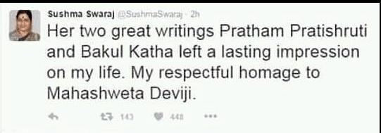 "A screenshot of Sushma Swaraj's deleted tweet. (Photo Courtesy: Twitter/ <a href=""https://twitter.com/SushmaSwaraj/status/758648630865698817?ref_src=twsrc%5Etfw"">Sushma Swaraj</a>)"