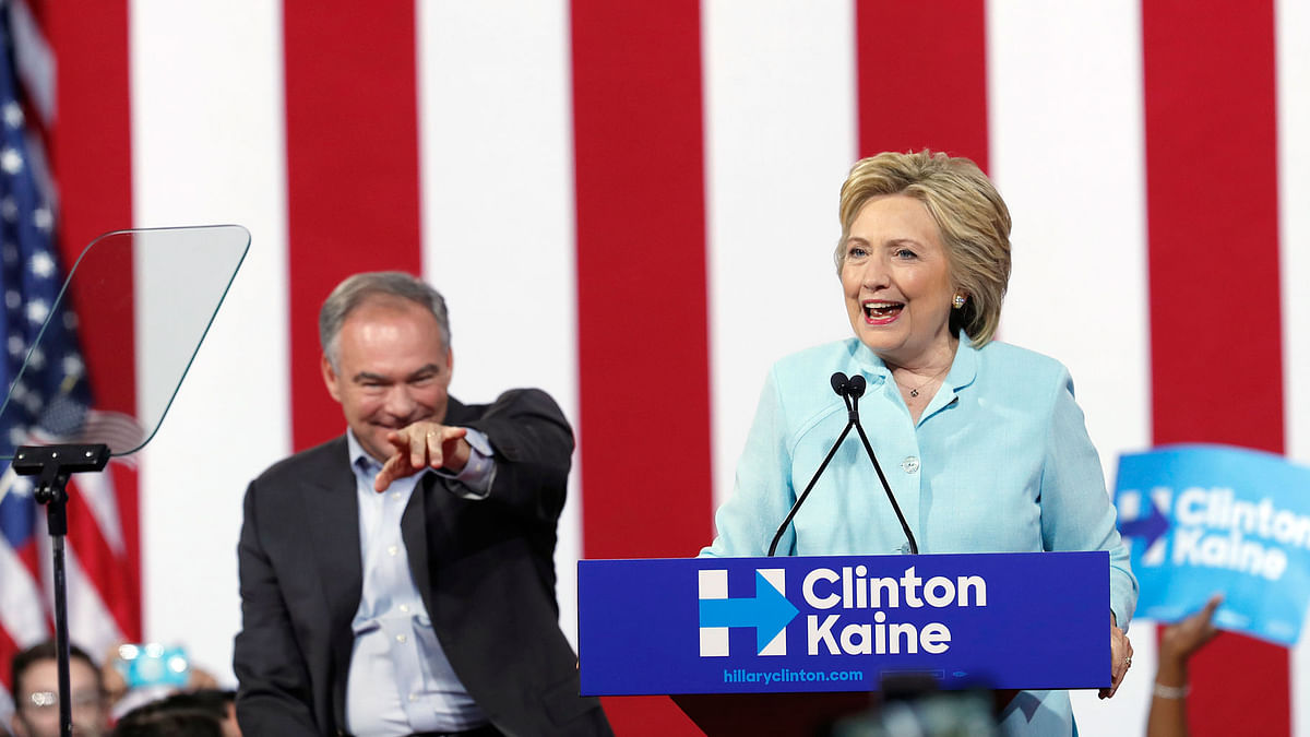 Democratic presidential candidate Hillary Clinton is joined by Senator Tim Kaine, D-Va., as she speaks at a rally at Florida International University. (Photo: AP)