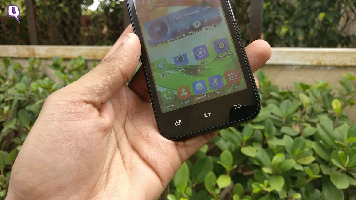 Soft buttons on the Freedom 251 phone. (Photo: <b>The Quint</b>)