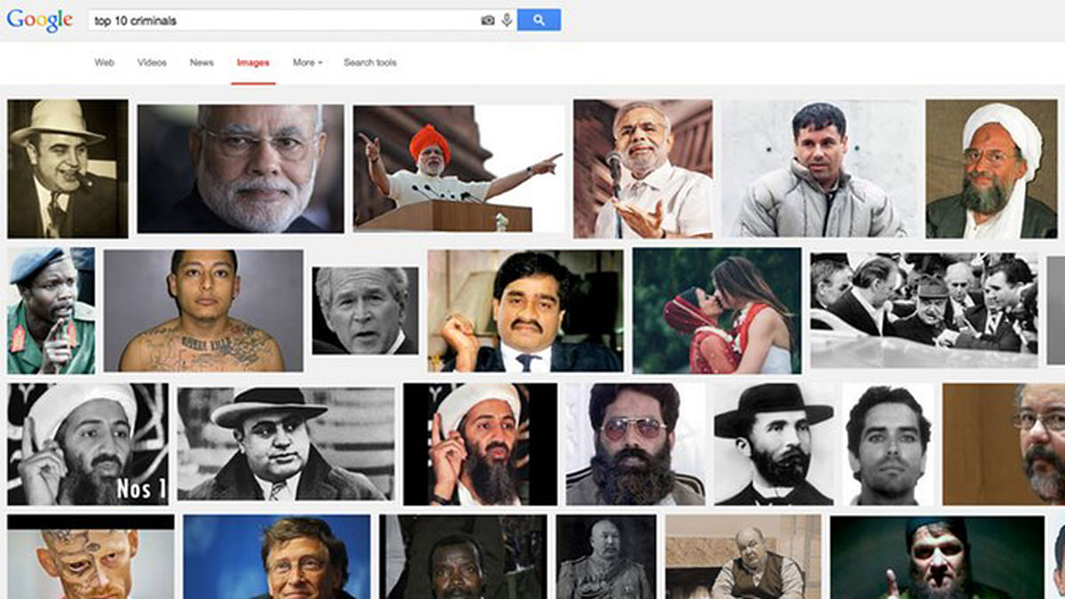 """Google search for """"top 10 criminals"""" throws up at least three images of Modi on the first page. (Photo: Google Images Screen Grab)"""