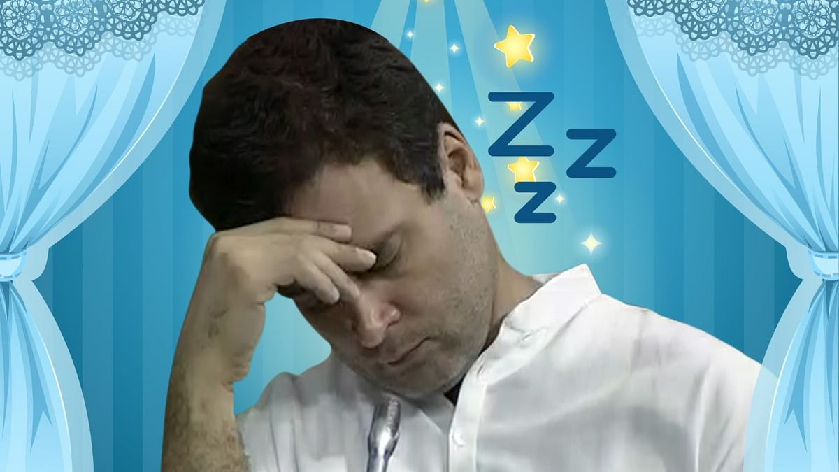 Rahul Gandhi steals a nap during the Parliament session. (Photo: Altered by <b>The Quint</b>)
