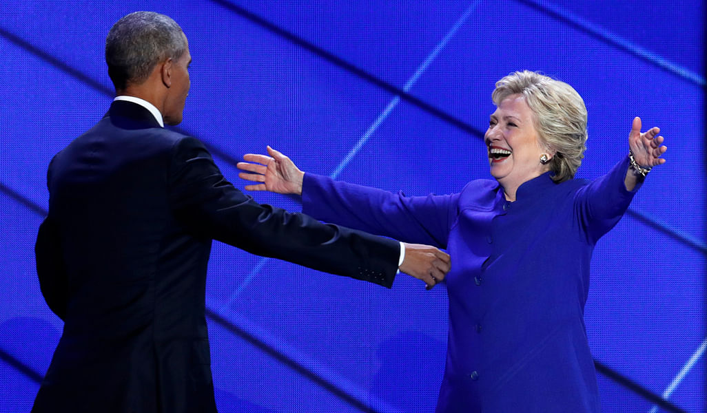 As Obama wrapped up his speech at the democratic convention, Clinton made a surprise appearance on stage to greet him.(Photo: AP)