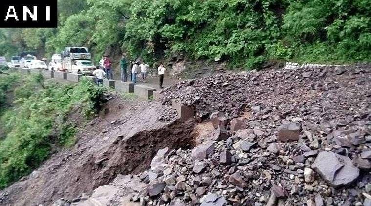 Rishikesh-Badrinath National Highway (NH-58) blocked due to heavy rains and landslide near Devprayag.  (Photo: ANI)