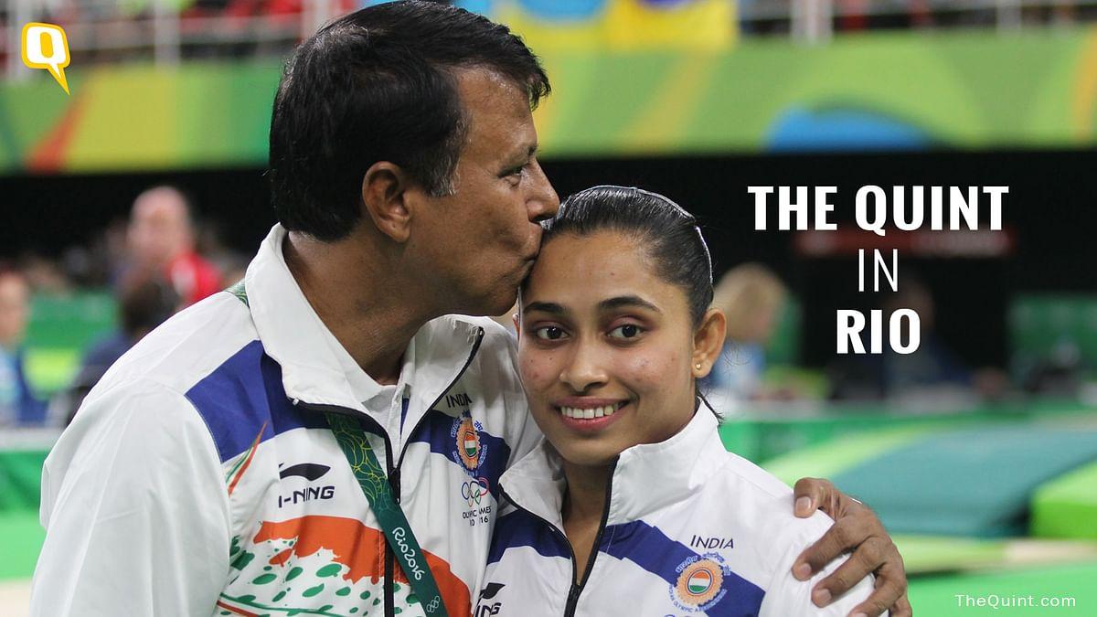 Dipa Karmakar with her coach Bishweshwar Nandi. (Photo: <b>The Quint</b>/Norris Pritam)