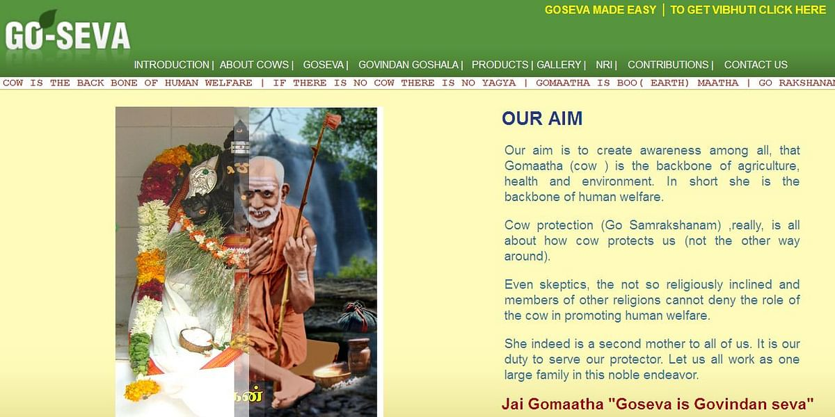 The home page of Goseva.net lists clearly the aims of the organisation which emphasise the role of cow in human welfare.   (Photo: Screengrab/Goseva.net)