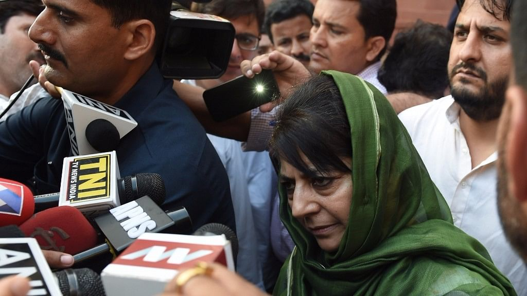Jammu and Kashmir Chief Minister Mehbooba Mufti comes out of Home Ministry after meeting Union Home Minister Rajnath Singh in New Delhi,  8 August, 2016. (Photo: IANS)