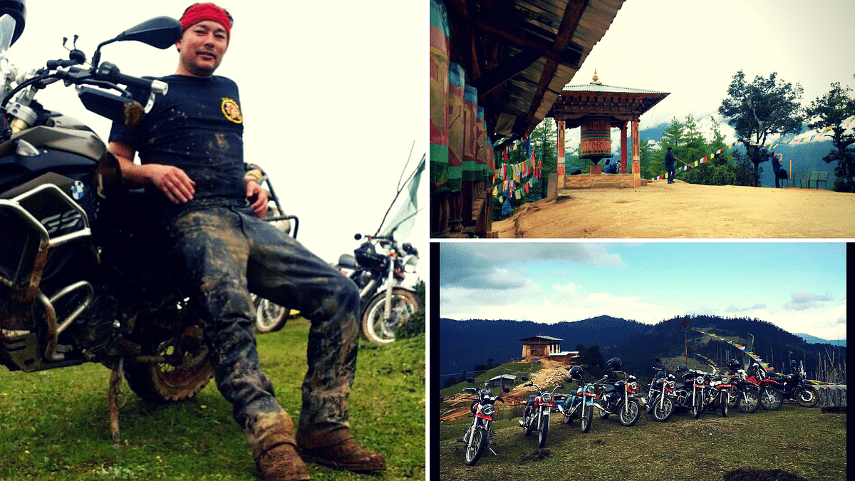 "Kelly Dorji is is leading participants on a bike to some of the most breathtaking landscapes of Bhutan.&nbsp;(Photo Courtesy:  <a href=""https://www.facebook.com/mountainechoes/photos"">Facebook/Mountain Echoes</a>, [Top R]; Kelly Dorji)"