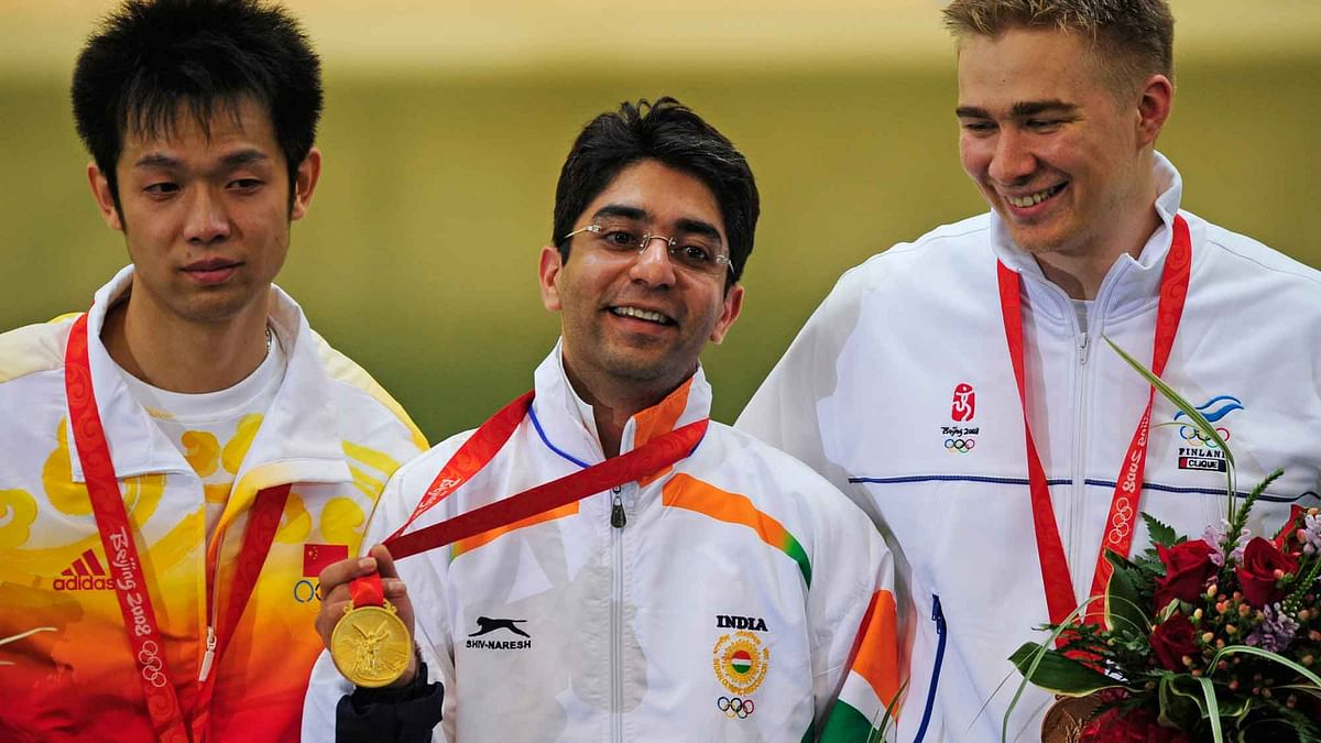Abhinav Bindra with his gold medal at the Beijing Games. (Photo: Reuters)