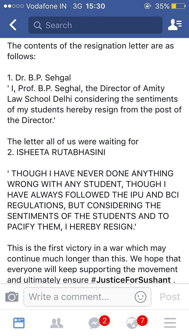 Screenshot of a student's Facebook post containing the alleged contents of the resignation letters. (Photo: Amity Law School student)
