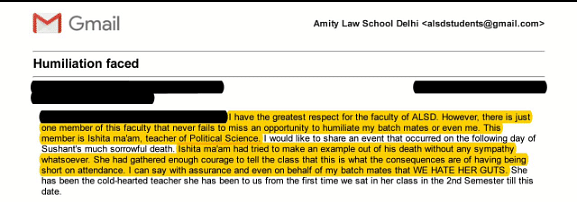 Screenshot of a mail from an Amity student about Isheeta Rutabhasini. (Photo Courtesy: Amity Law School student)