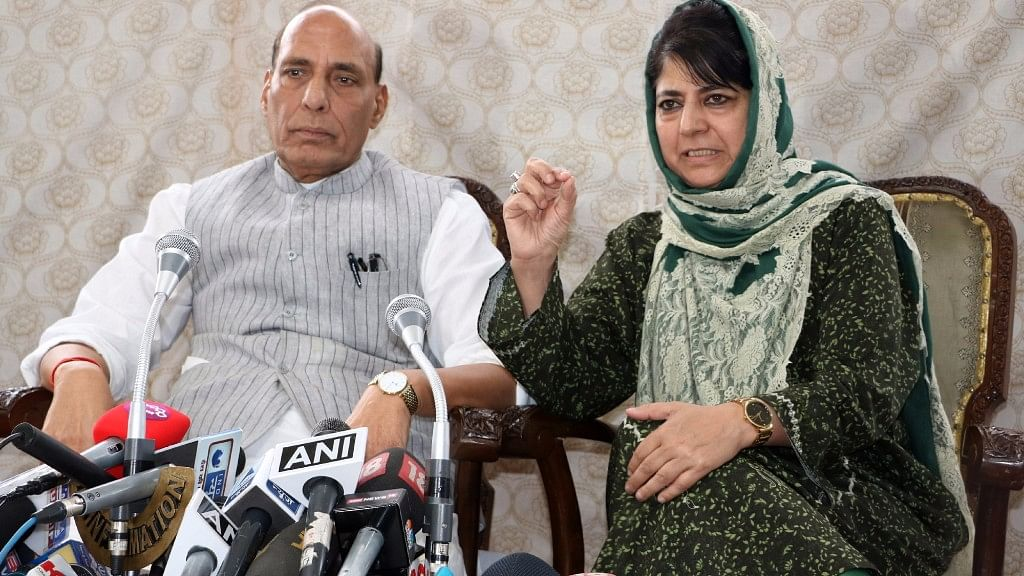 Union Home Minister Rajnath Singh and Jammu and Kashmir Chief Minister Mehbooba Mufti address a press conference in Srinagar,  25 August, 2016. (Photo: IANS)