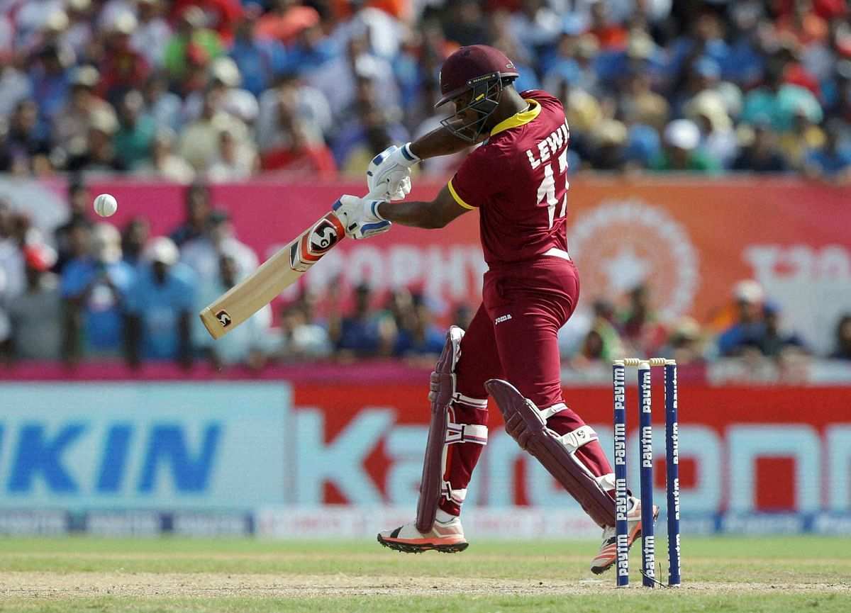 West Indies' Evin Lewis bats during the first Twenty20 international cricket match against India. (Photo: AP)