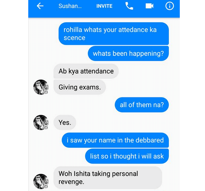 Screenshot of Sushant's conversation with a friend. (Photo Courtesy: Amity Law School student)
