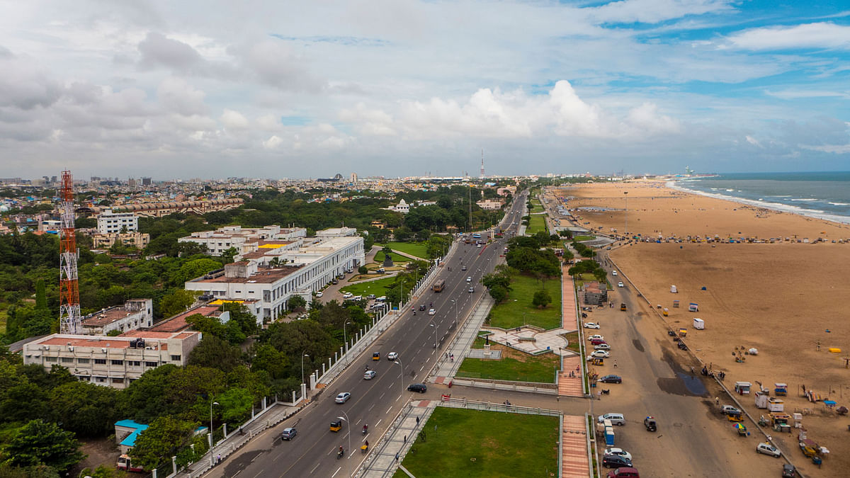 Aerial view of Chennai's Marina Beach.The natural ecosystems are under threat, owing to the reconstruction of the Marina Loop Road.