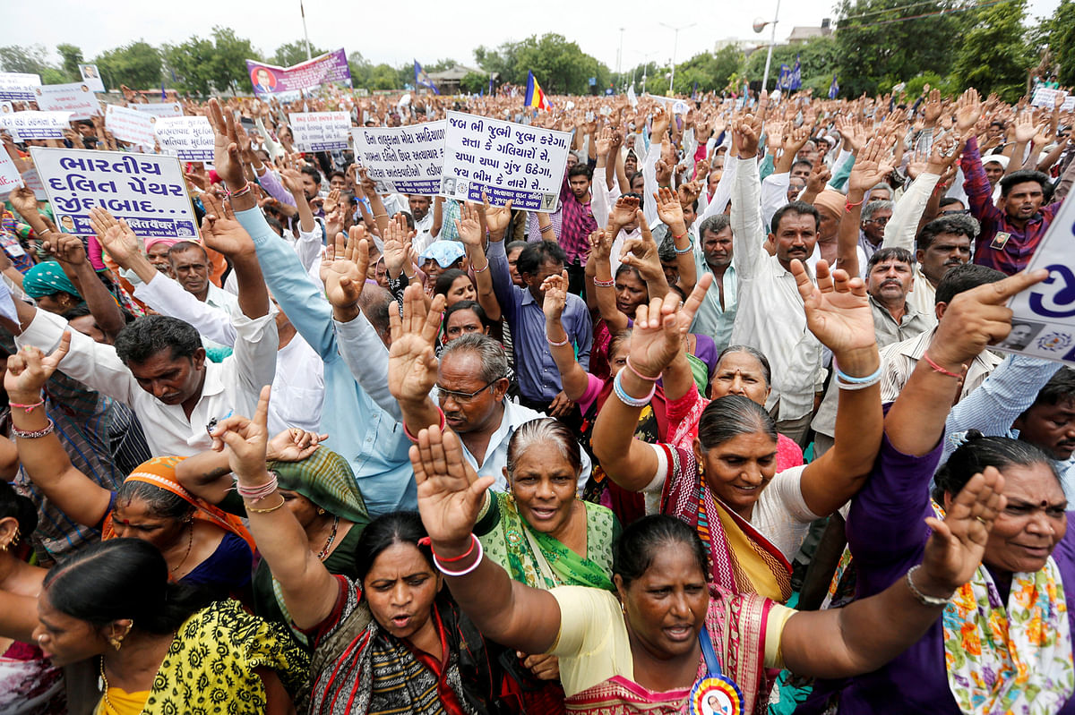 People attend a protest rally against what they say are attacks on India's low-caste Dalit community in Ahmedabad, India, July 31, 2016. (Photo: Reuters)