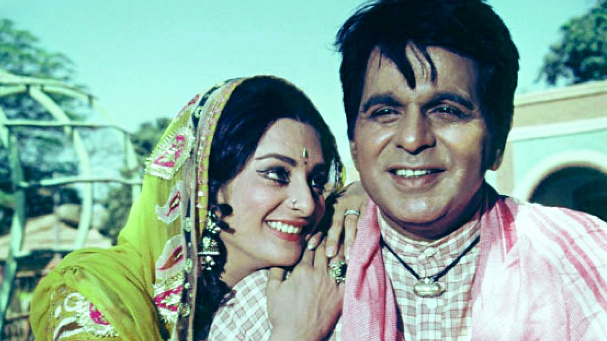 Saira Banu with Dilip Kumar in a scene from <i>Gopi.</i>