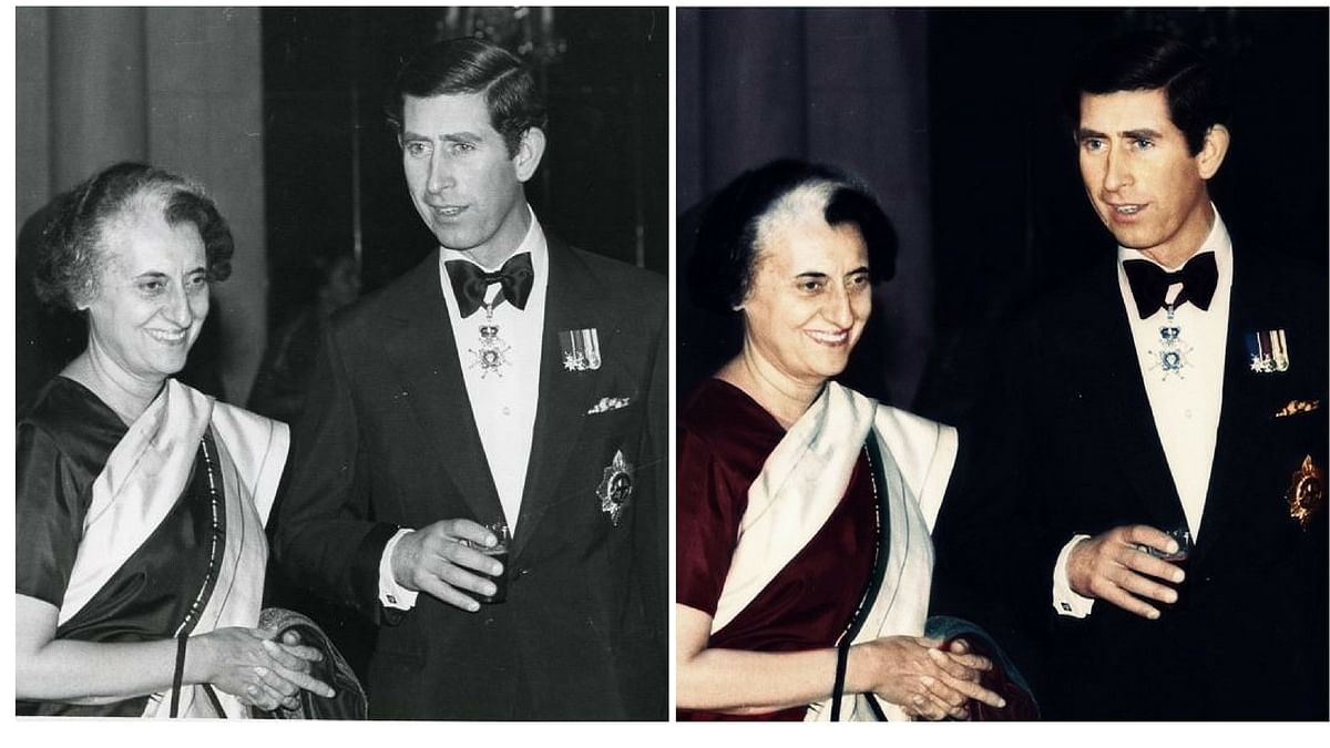 Prince Charles in conversation with Indira Gandhi at a banquet. (Dimple Negi)