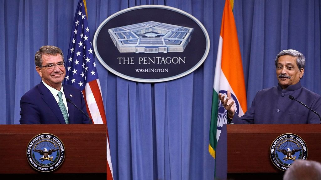 Defence Secretary Ashton Carter listens  as Indian Defence Minister Manohar Parrikar speaks during their joint news conference at the Pentagon,  29 August 2016. (Photo: AP)