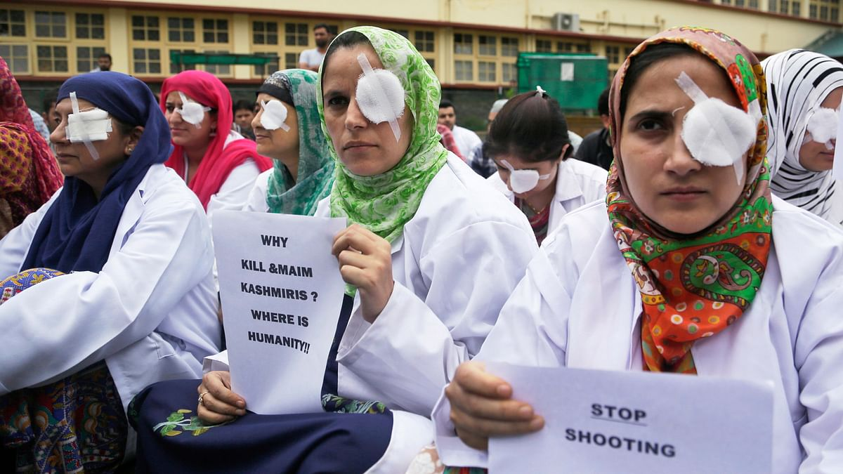 Kashmiri women protesting against the use of pellets in the Valley. (Photo: AP)