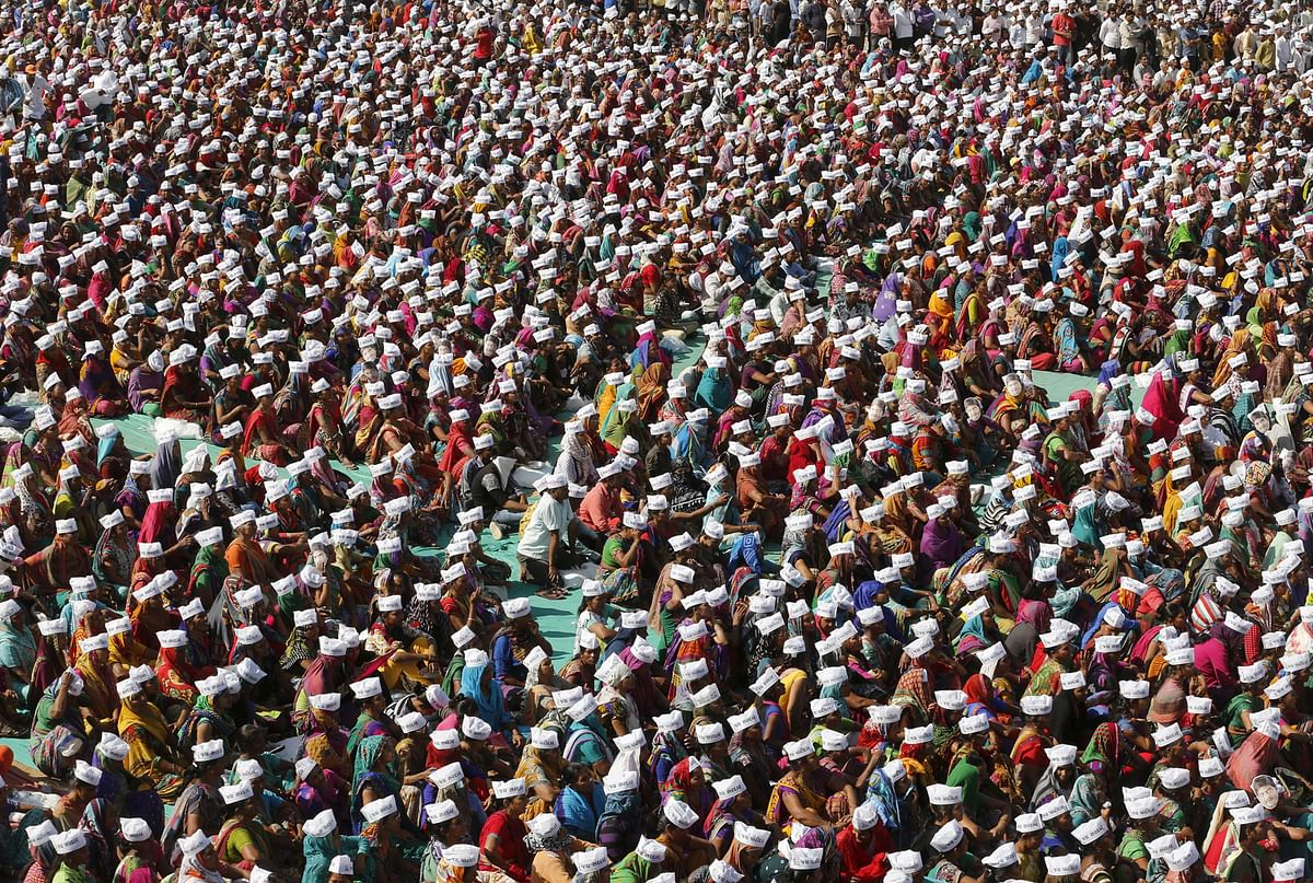 Members of the Patidar community attend a protest rally at Mahesana town in Gujarat, 28 February 2016. (Photo: Reuters)