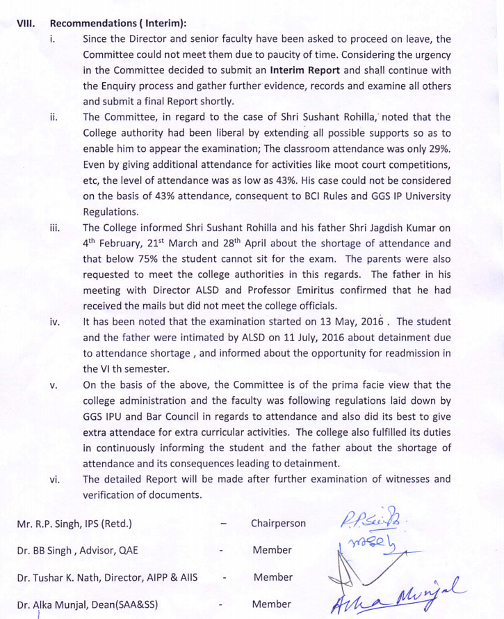 Interim report that was released after an enquiry committee investigated Sushant's death. (Photo Courtesy: Amity Law School)