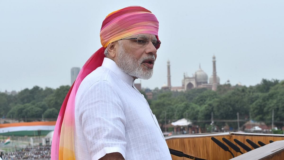 Prime Minister Narendra Modi delivering his speech on Independence Day. (Photo: IANS)