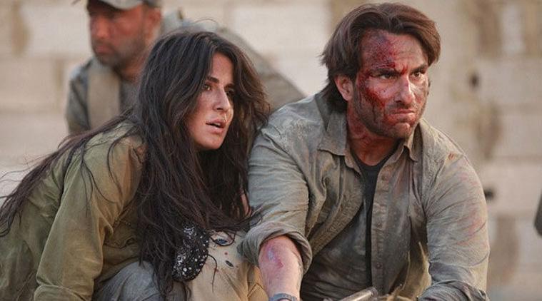 Saif Ali Khan with Katrina Kaif in a still from <i>Phantom</i>, his last released film.&nbsp;