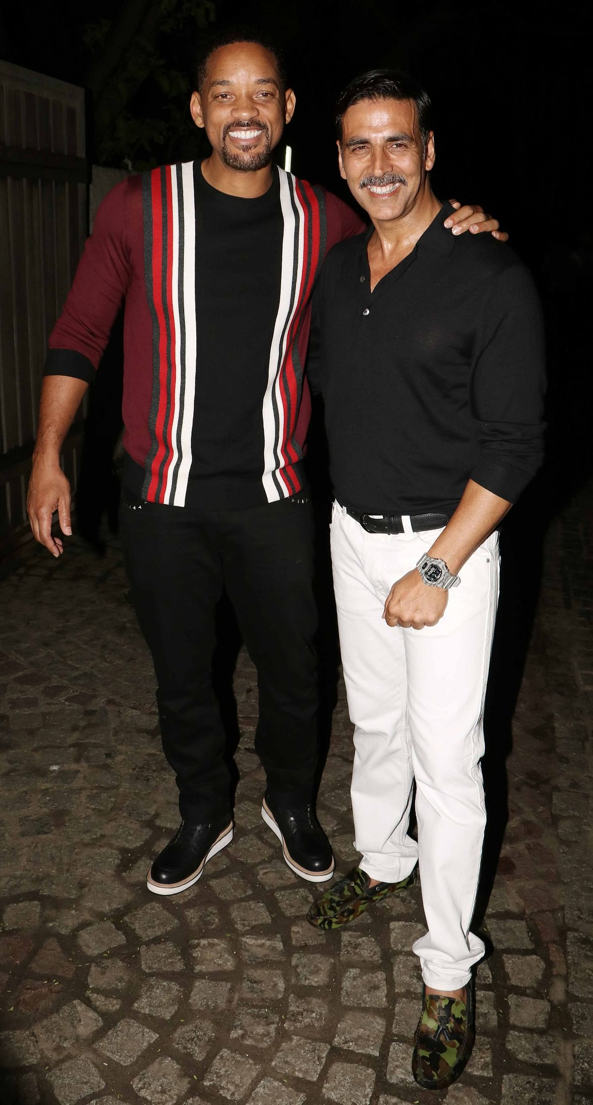 Will Smith with Akshay Kumar outside their residence. (Photo: Yogen Shah)